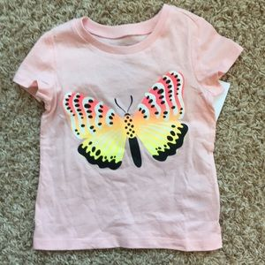 NWT 2t pink short sleeve butterfly T-shirt